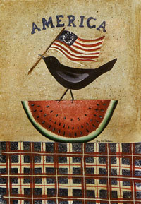 Patriotic Crow on Watermelon Flag 28x40