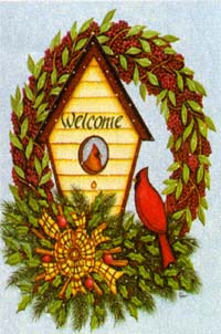 Berry Wreath & Birdhouse Flag 28x40