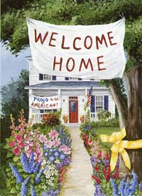 Welcome Home Yellow Ribbon Flag 28x40