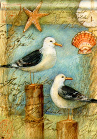 Seagulls & Shells Flag 28x40