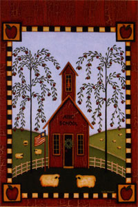 Primative School House Flag 28x40