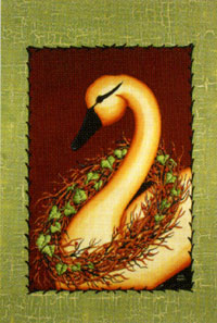 Swan & Berries Flag 28x40