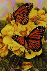 Butterfly & Yellow Roses Garden Flag 12.5x18