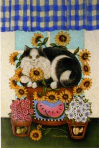 Cat & Flower Pot Flag 28x40