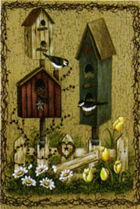 Birdhouse Fence Flag 28x40