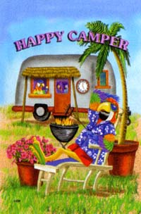 Happy Camper Parrot Garden Flag 12x16
