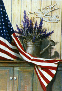 American Flag/Heather Garden Flag 12x18