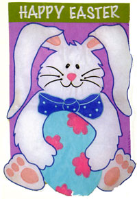 Bunny Egg Applique Garden Flag 12x18