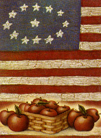 Stars Stripes and Apples Flag 27x40 (100% all weather polyester, mildew & fade resistant, sunlight resistant)
