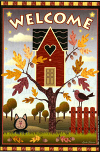 Birdhouse Welcome Autumn Flag 24x36