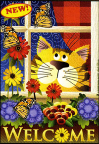 Kitty in the Window Flag 24x36