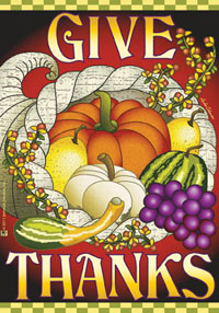 Give Thanks Cornucopia Garden Flag 12x18