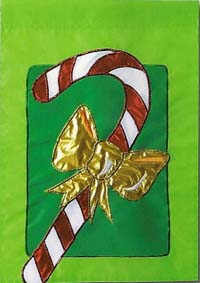 Candy Cane Bow Applique Flag 28 x 40