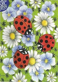 Flowers & Ladybugs Flag 28 x 40