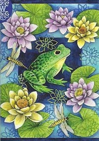 Frog & Waterlillies Flag 28 x 40