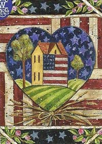 American Folk Heart Flag 28 x 40