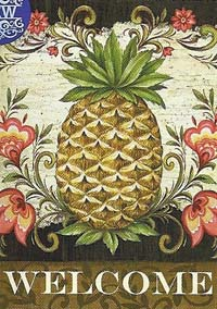 Pineapple and Scrolls Flag 28 x 40