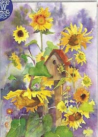 Birdhouse & Sunflowers Flag 28 x 40