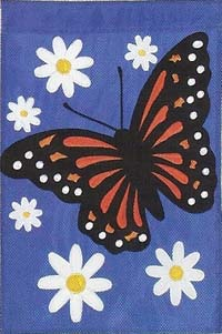 Monarch with Daisies Applique Flag 28 x 40