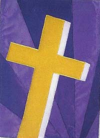 Golden Cross Applique Flag 28 x 40