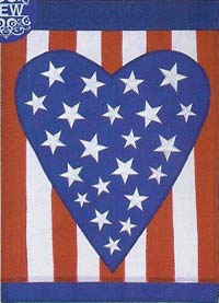 Patriotic Heart Applique Flag 28 x 40