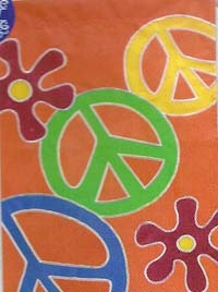 Peace Flowers Applique Garden Flag 12.5 x 18