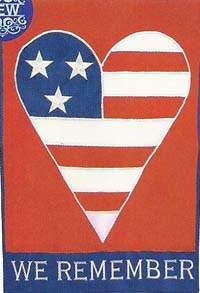 American Heart Applique Flag 28 x 40