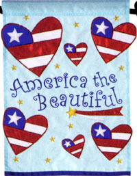America the Beautiful Applique Flag 28x40