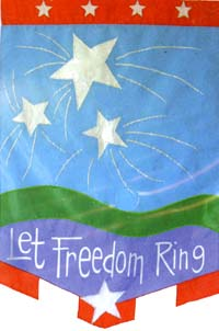 Let Freedom Ring Applique Flag 28x40