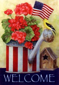 Patriotic Watering Can Flag 28x40